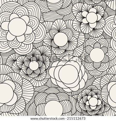 Flowers seamless pattern. Hand drawn floral texture. Linear graphical background - stock vector