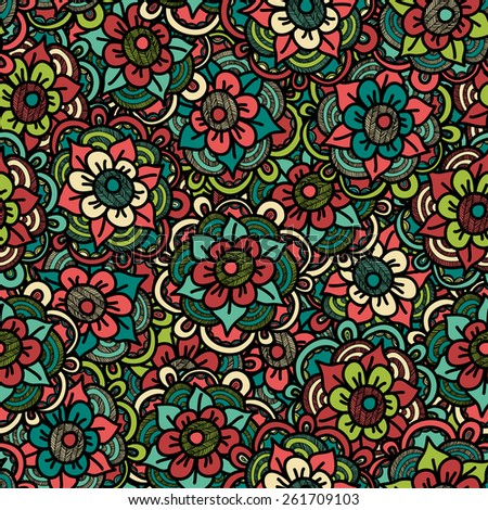 Flowers Seamless Pattern - Vector Illustration - stock vector
