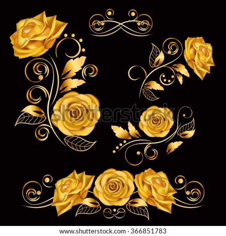 Flowers.Vector illustration with gold roses. Vintage decoration. Decorative, ornate, antique, luxury, floral elements on black background. Concept for invitation, banners, gift cards, congratulation.  - stock vector