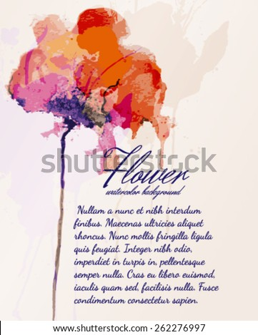 Flowers watercolor background - stock vector