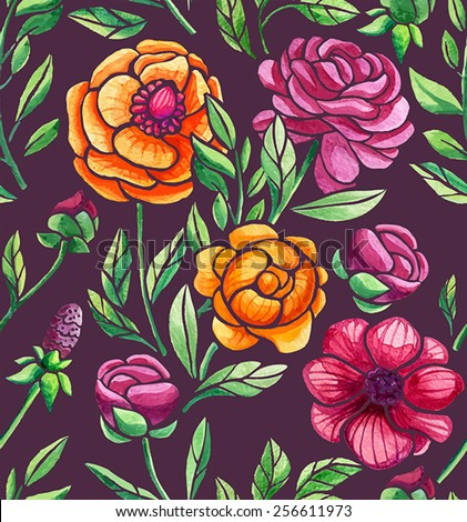 flowers watercolor seamless pattern - stock vector