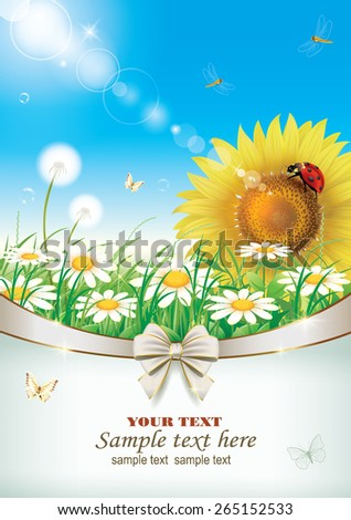 Flowery meadow with daisies and sunflowers - stock vector