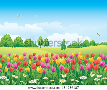 Flowery meadow with tulips - stock vector
