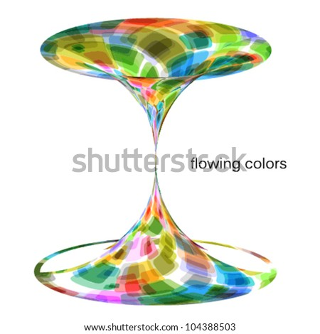 flowing colors artistic abstract illustration (hourglass) - stock vector