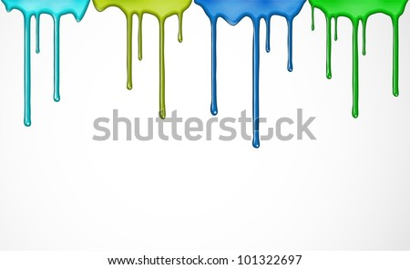 Flowing down the colorful paint. Eps 10 - stock vector