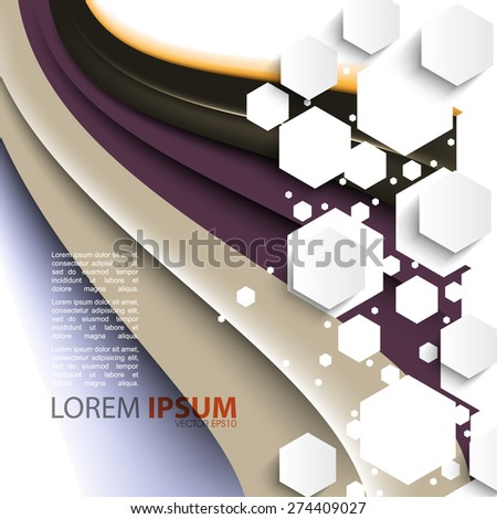 flowing elegant wave with geometric overlapping white hexagon frame corporate business background eps10 vector - stock vector