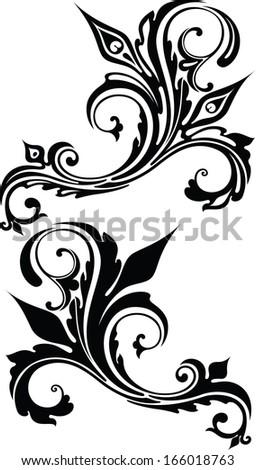Flowing Scrolls - Illustration - stock vector