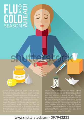 Flu and cold season ahead-vector infographic template with text area  made in flat style. Sick young woman sit at the table with cup of hot drink. Vector illustration. Information brochure or poster. - stock vector