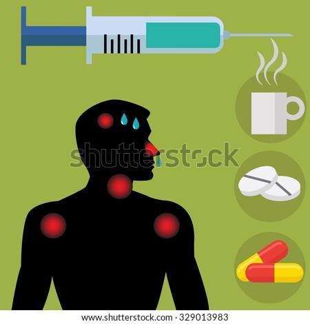 Flu shot / vaccine with sick man showing symptoms vector concept - stock vector