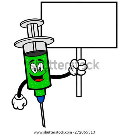 Flu Shot with Sign - stock vector