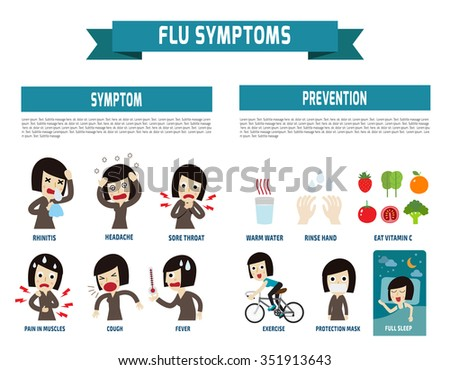 flu symptoms and Influenza. health concept. infographic element. vector flat icons cartoon design. illustration. isolated on white background. - stock vector
