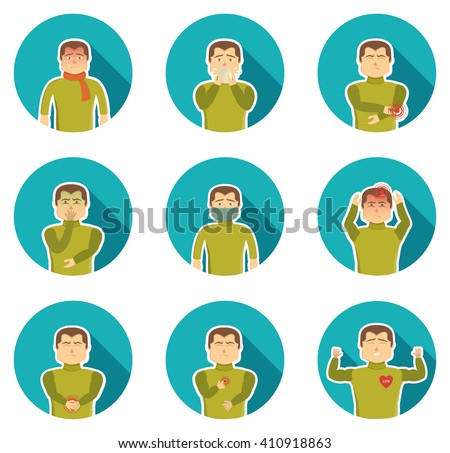 Flu symptoms icon set with ailing man and his state of health when sickness vector illustration - stock vector