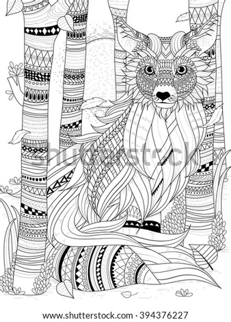 fluffy fox in the forest - adult coloring page  - stock vector