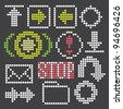 fluorescent dot-based icons and signs set for control screens and web design. more icons are available. vector illustration - stock vector