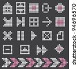 fluorescent dot-based icons and symbols set. more icons are available. vector illustration - stock vector