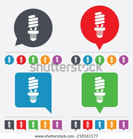 Fluorescent lamp bulb sign icon. Energy saving. Idea and success symbol. Speech bubbles information icons. 24 colored buttons. Vector - stock vector