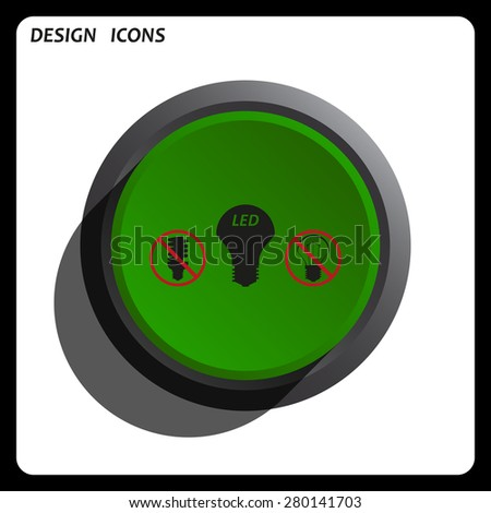 fluorescent lamp, LED lamp, incandescent bulb . icon. vector design Green Start button, forward, to continue. Flat design style. - stock vector