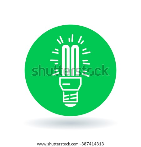 Fluorescent light bulb icon. Compact lightbulb sign. CFL bulb symbol. White icon on green circle background. Vector illustration. - stock vector