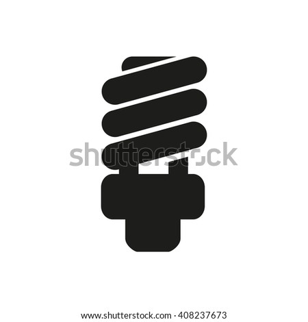 Fluorescent  Light Bulb icon in a flat design on a white backgrond - stock vector