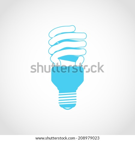 Fluorescent Light Bulb Icon Isolated on White Background - stock vector