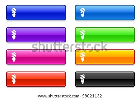 Fluorescent Light Bulb Icon on Long Button Collection Original Illustration - stock vector