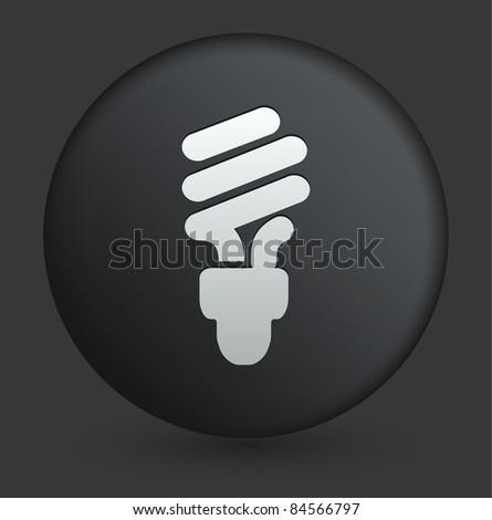 Fluorescent Light Bulb Icon on Round Black Button Collection Original Illustration - stock vector