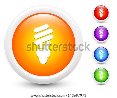 Fluorescent Light Bulb Icons on Round Button Collection Original Illustration - stock vector