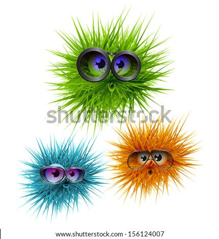 flurry fluffy colorful creatures wearing glasses - stock vector