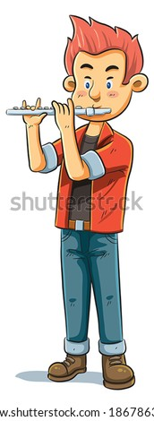 Flute Player - stock vector