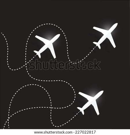 fly routes and airplanes. illustration design over a black background - stock vector