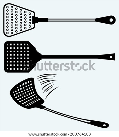 Fly swatter. Image isolated on blue background - stock vector