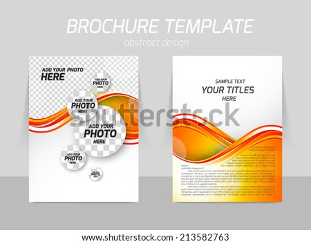 Flyer back and front template design with orange wave and circles - stock vector