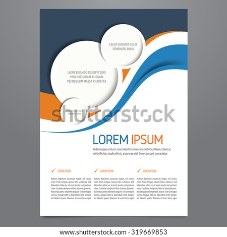 Flyer, brochure, annual report, magazine vector template. Modern blue and orange corporate design. - stock vector
