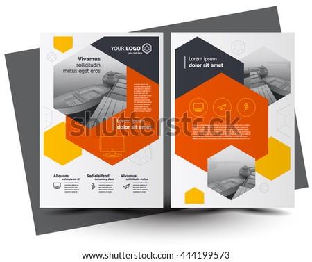 Flyer brochure design, business flyer size A4 template, creative leaflet, trend cover hexagon - stock vector