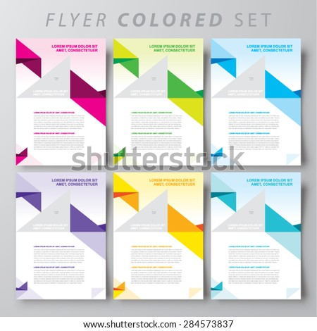 flyer brochure design template cover colored abstract triangles set - stock vector