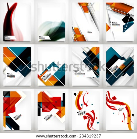 Flyer, Brochure Design Template Set, Business Abstract Geometric Backgrounds, Web or Print Designs - stock vector