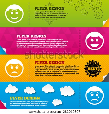 Flyer brochure designs. Circle smile face icons. Happy, sad, cry signs. Happy smiley chat symbol. Sadness depression and crying signs. Frame design templates. Vector - stock vector