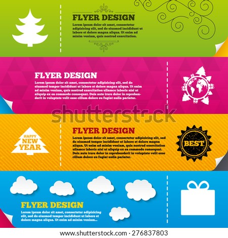 Flyer brochure designs. Happy new year icon. Christmas trees and gift box signs. World globe symbol. Frame design templates. Vector - stock vector