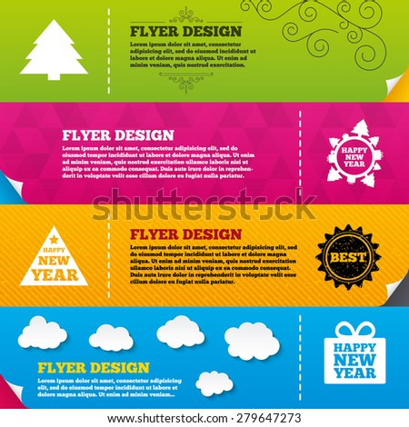 Flyer brochure designs. Happy new year icon. Christmas trees signs. World globe symbol. Frame design templates. Vector - stock vector