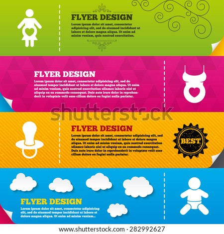 Flyer brochure designs. Maternity icons. Baby infant, pregnancy and dummy signs. Child pacifier symbols. Shirt with heart. Frame design templates. Vector - stock vector