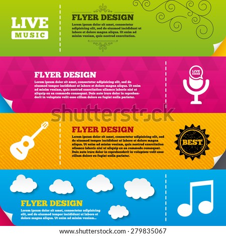 Flyer brochure designs. Musical elements icons. Microphone and Live music symbols. Music note and acoustic guitar signs. Frame design templates. Vector - stock vector
