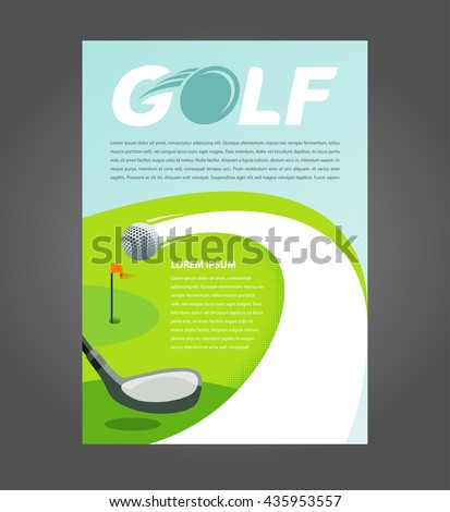 Flyer brochure golf, cover A4 size game action golf - stock vector