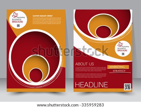 Flyer, brochure, magazine cover template design for education, presentation, website. Red and orange color. Editable vector illustration. Abstract background. - stock vector