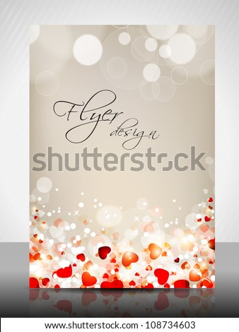 Flyer, brochure or cover design with valentine hearts for publishing, print and presentation. Vector illustration in EPS 10. - stock vector