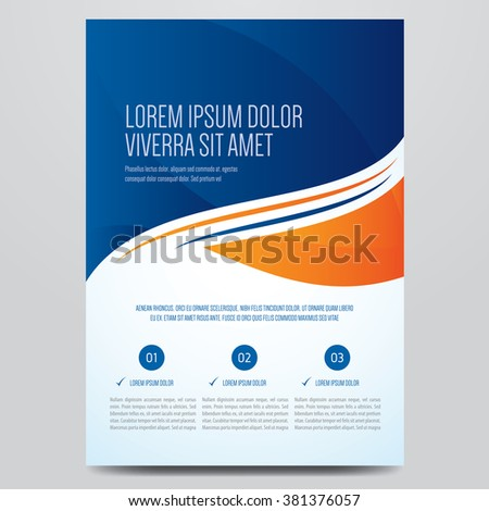 Flyer, brochure, poster, annual report, magazine cover vector template. Modern blue and orange corporate design.  - stock vector