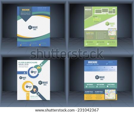 Flyer, Business Brochure, Catalog Cover Vector Design Template Set  - stock vector