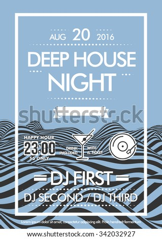 Flyer design vector template to night party - stock vector