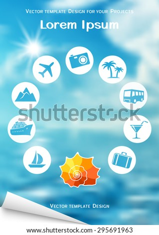 Flyer design with sea shell and travel icons on blurred background - stock vector