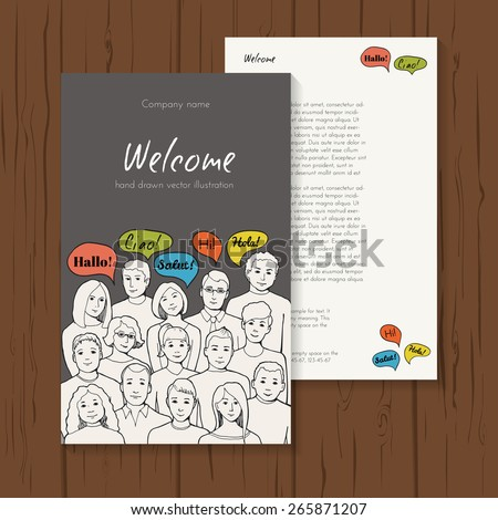 Flyer illustration of a group of young people with speech clouds of different foreign languages. hand drawn vector illustration - stock vector
