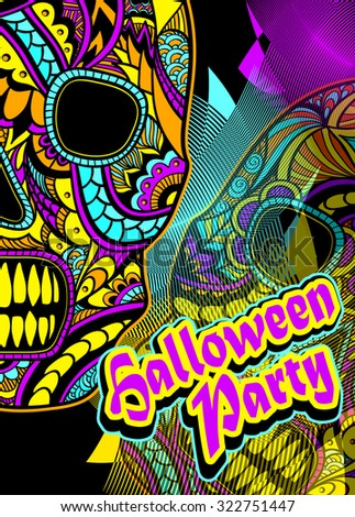 Flyer on Halloween party with Decorate Skull painted ornament in lilac orange blue yellow - stock vector